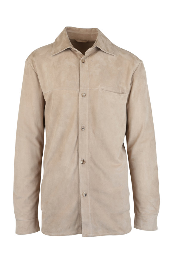 Luciano Barbera Sand Suede Overshirt