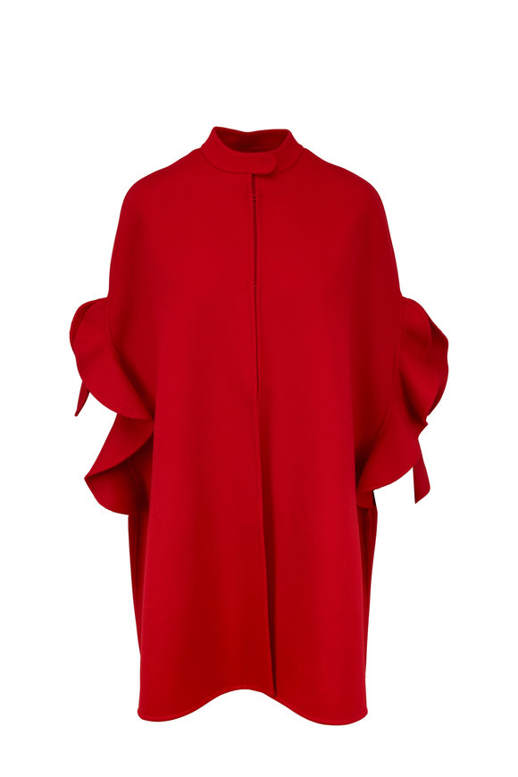 VALENTINO Red Double-Faced Wool & Cashmere Cape