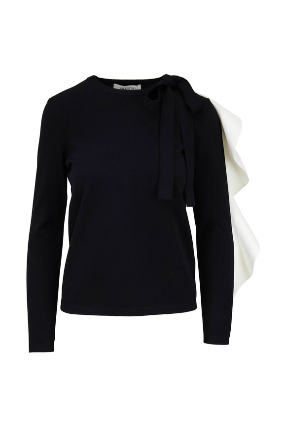 Valentino Black With Contrast Ivory Voulant Sweater