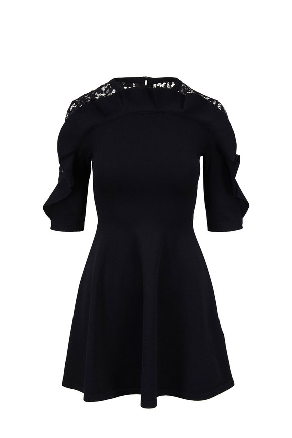 Valentino Black Lace & Ruffle Detail Elbow Sleeve Dress
