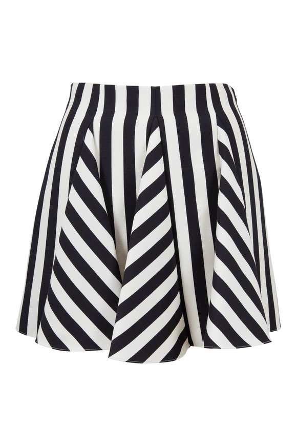Valentino Black & White Striped Godet Mini Skirt