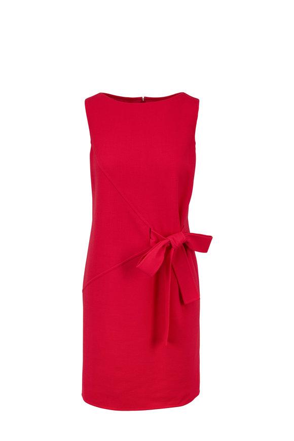 Oscar de la Renta Raspberry Wool Crêpe Side Knot Sleeveless Sheath