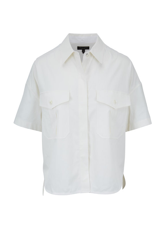Rag & Bone Mason Chalk Cropped Short Sleeve Blouse
