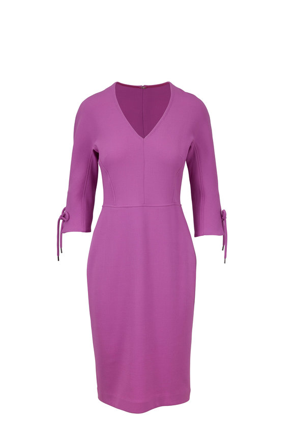 Lela Rose Orchid Bow Sleeve Fitted Dress