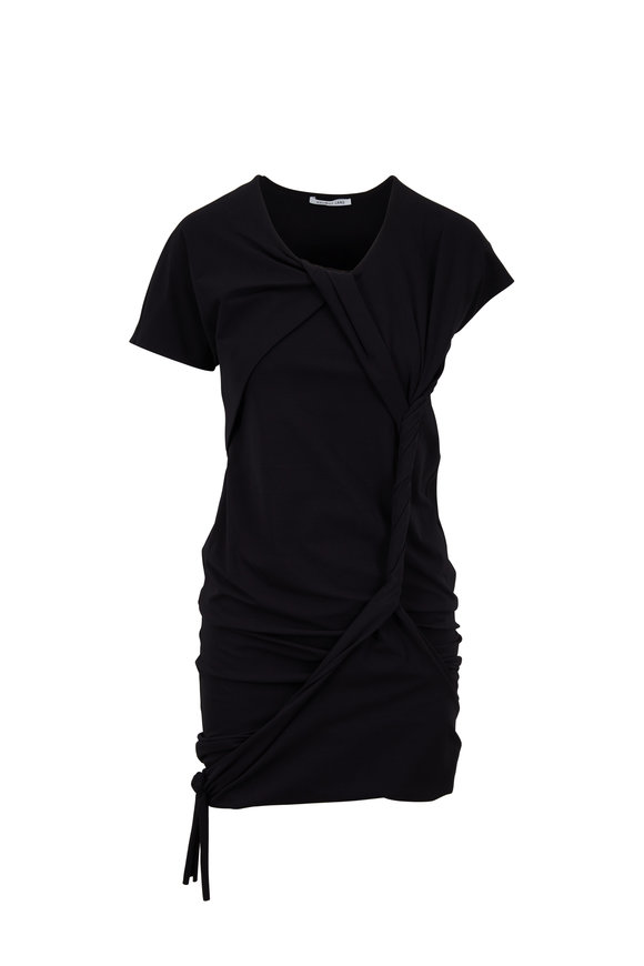 Helmut Lang Black Cotton Twisted Knot Short Sleeve Dress