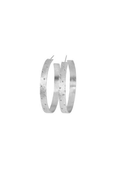 Julez Bryant - 14K White Gold Hammered Diamond Hoop Earrings