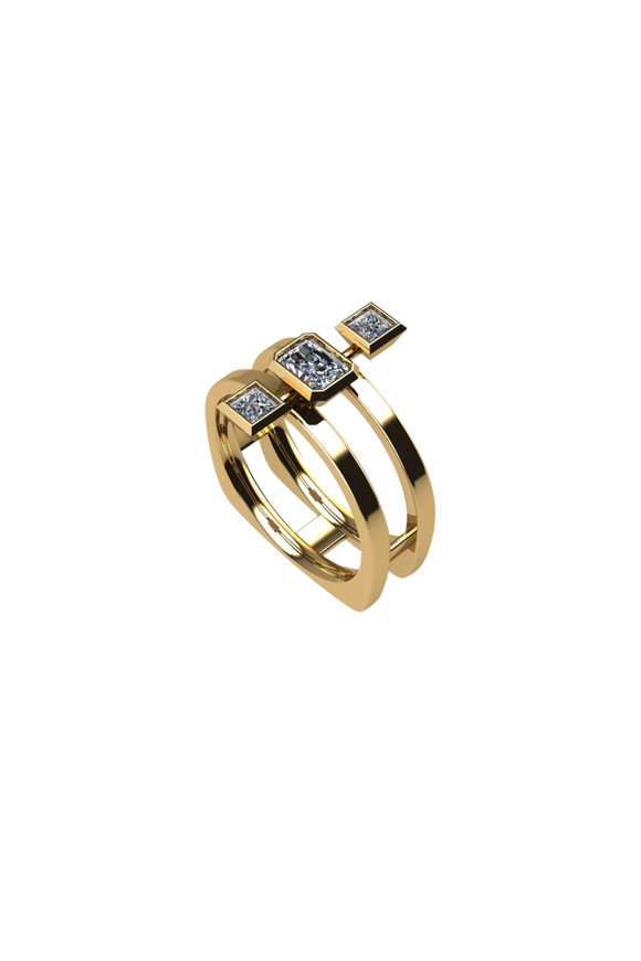 Julez Bryant 14K Yellow Gold Triple Diamond Ring