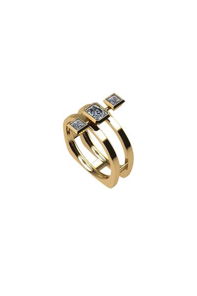 Julez Bryant - 14K Yellow Gold Triple Diamond Ring