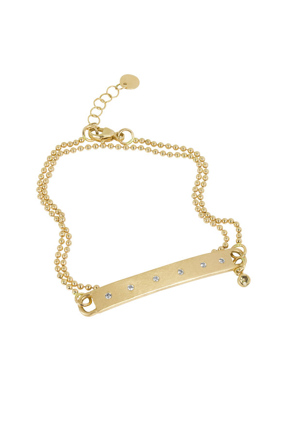 Julez Bryant 18K Yellow Gold Double Chain Diamond Bar Bracelet
