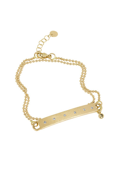 Julez Bryant - 18K Yellow Gold Double Chain Diamond Bar Bracelet
