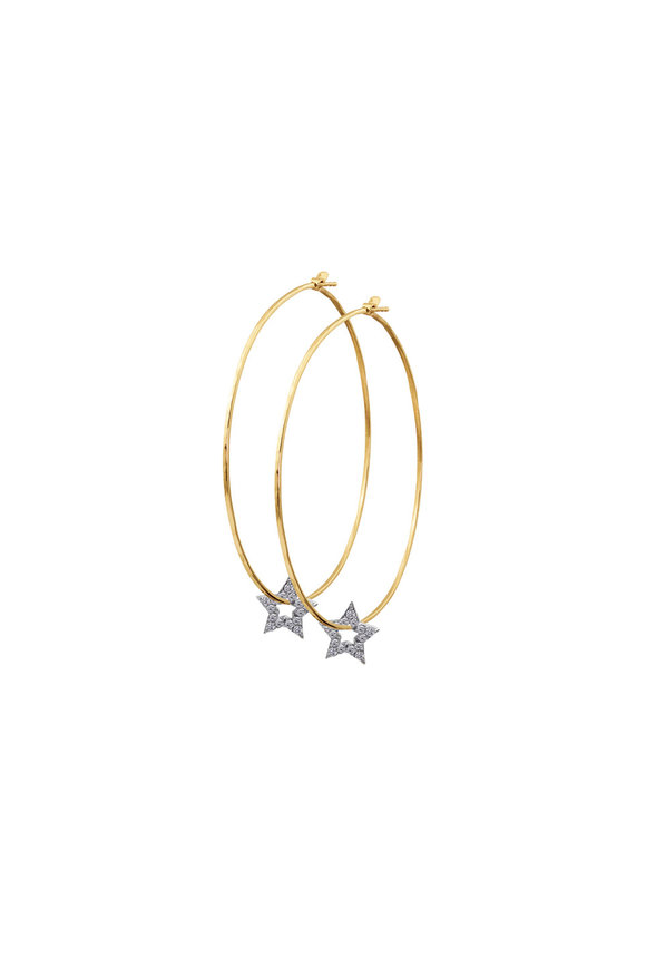 Julez Bryant 18K Yellow Gold Pavè Stars Hoop Earrings