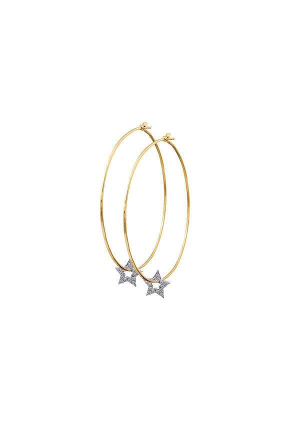 Julez Bryant 18K Yellow Gold Pavè Stars Hoop Earrings