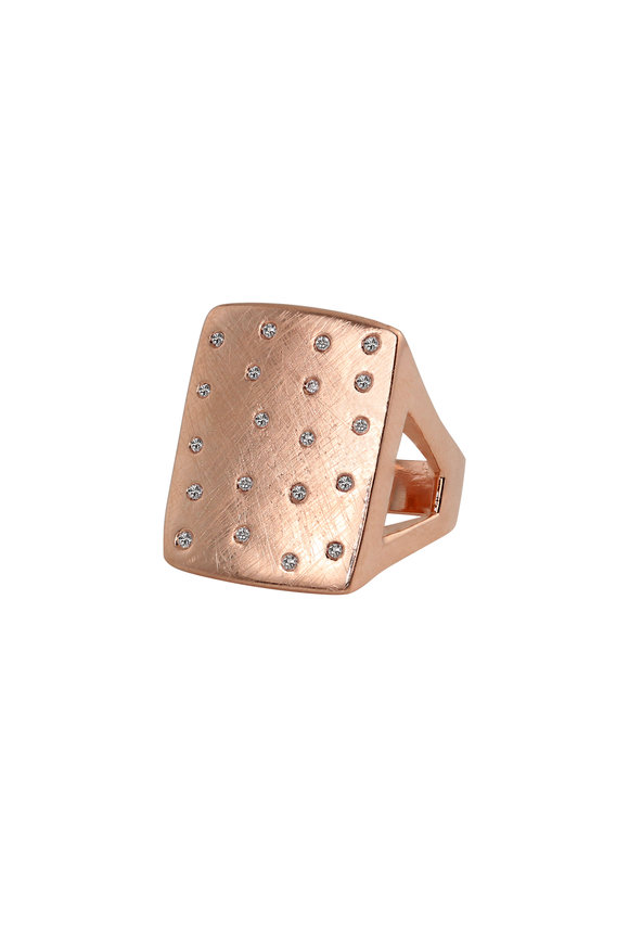 Julez Bryant 14K Rose Gold Scattered Diamonds Number 1 Ring
