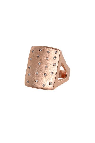 Julez Bryant - 14K Rose Gold Scattered Diamonds Number 1 Ring