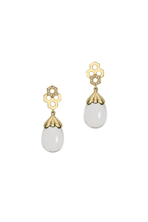 Temple St. Clair 18K Yellow Gold Beehive Amulet Drop Earrings