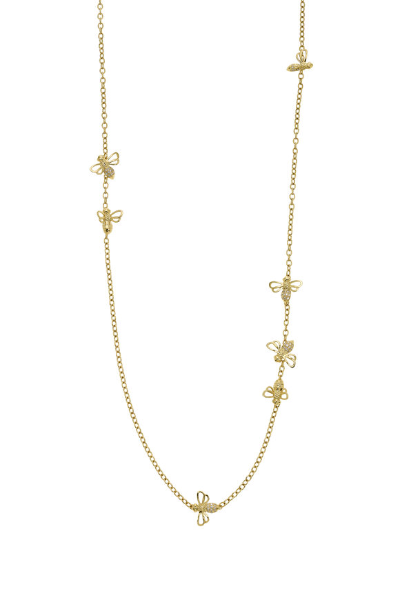 Temple St. Clair 18K Yellow Gold Shorter Busy Bee Necklace