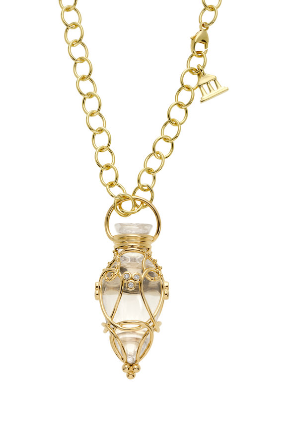Temple St. Clair 18K Yellow Gold Anfora Rock Crystal Amulet