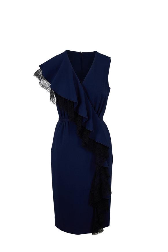 Adam Lippes Navy Blue Cady Lace Ruffle Wrap Dress
