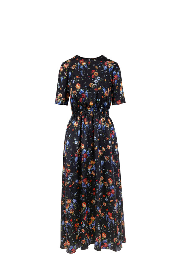 Adam Lippes Black Floral Silk Charmeuse Smock Waist Maxi Dress