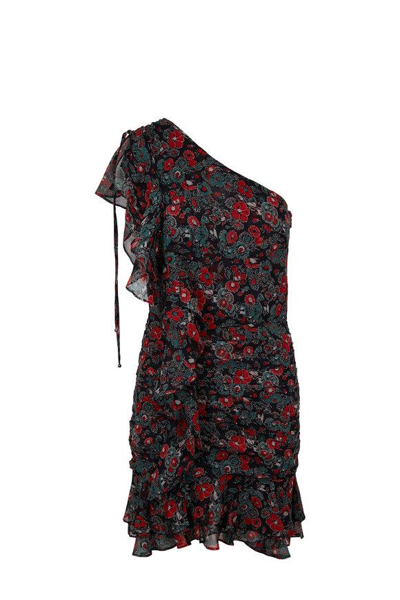 Veronica Beard Ballard Dark Navy Silk One Shoulder Dress