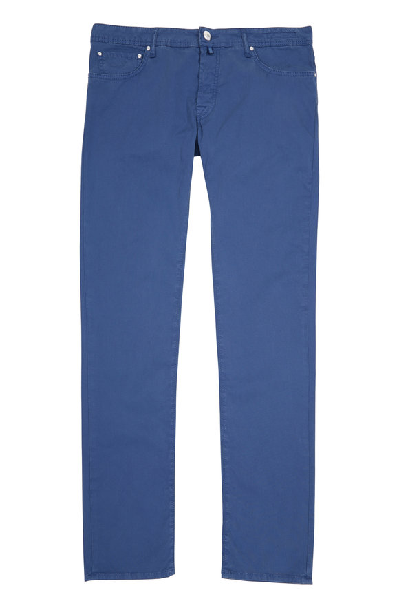 Jacob Cohen  Blue Twill Straight Leg Jean