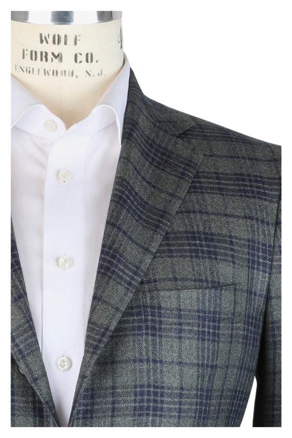 Kiton Green Plaid Cashmere, Silk & Linen Sportcoat