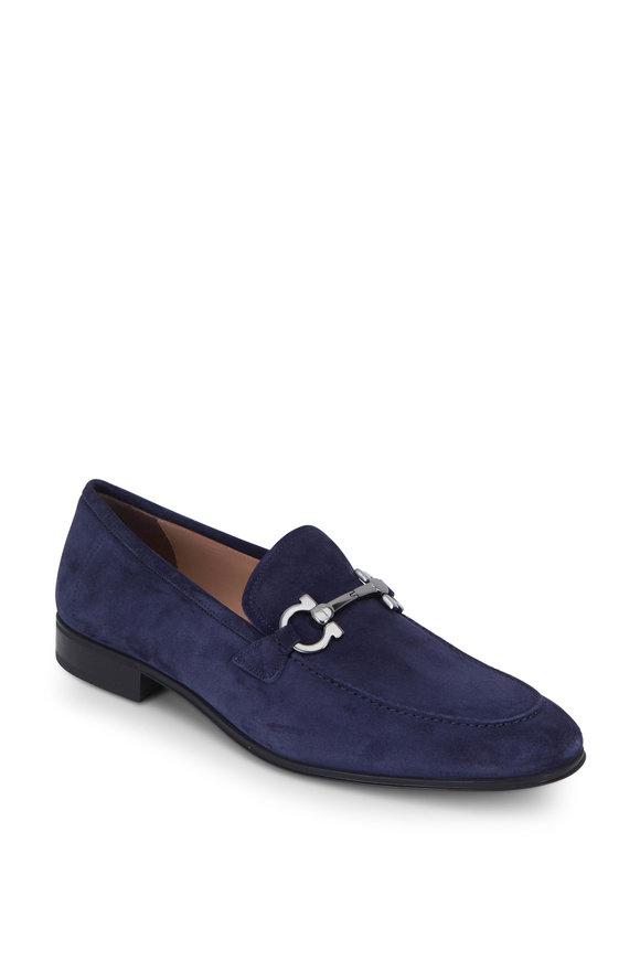 Salvatore Ferragamo Flori 2 Blue Garcon Suede Bit Loafer