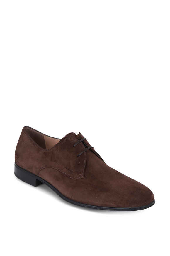 Salvatore Ferragamo Fortunato 2 Brown Suede Derby Shoe