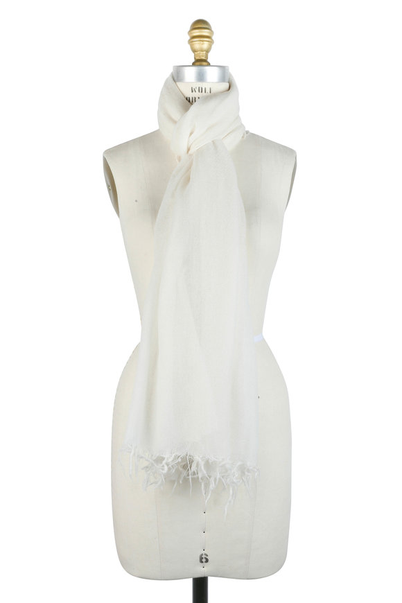 Kinross Solid Ivory Cashmere Scarf