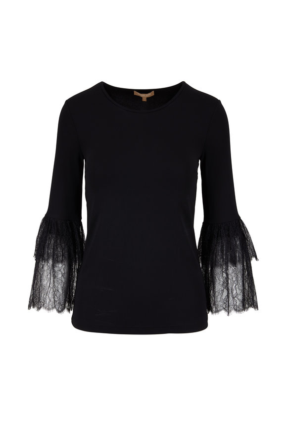 Michael Kors Collection Black Lace Trim Bell Sleeve Top