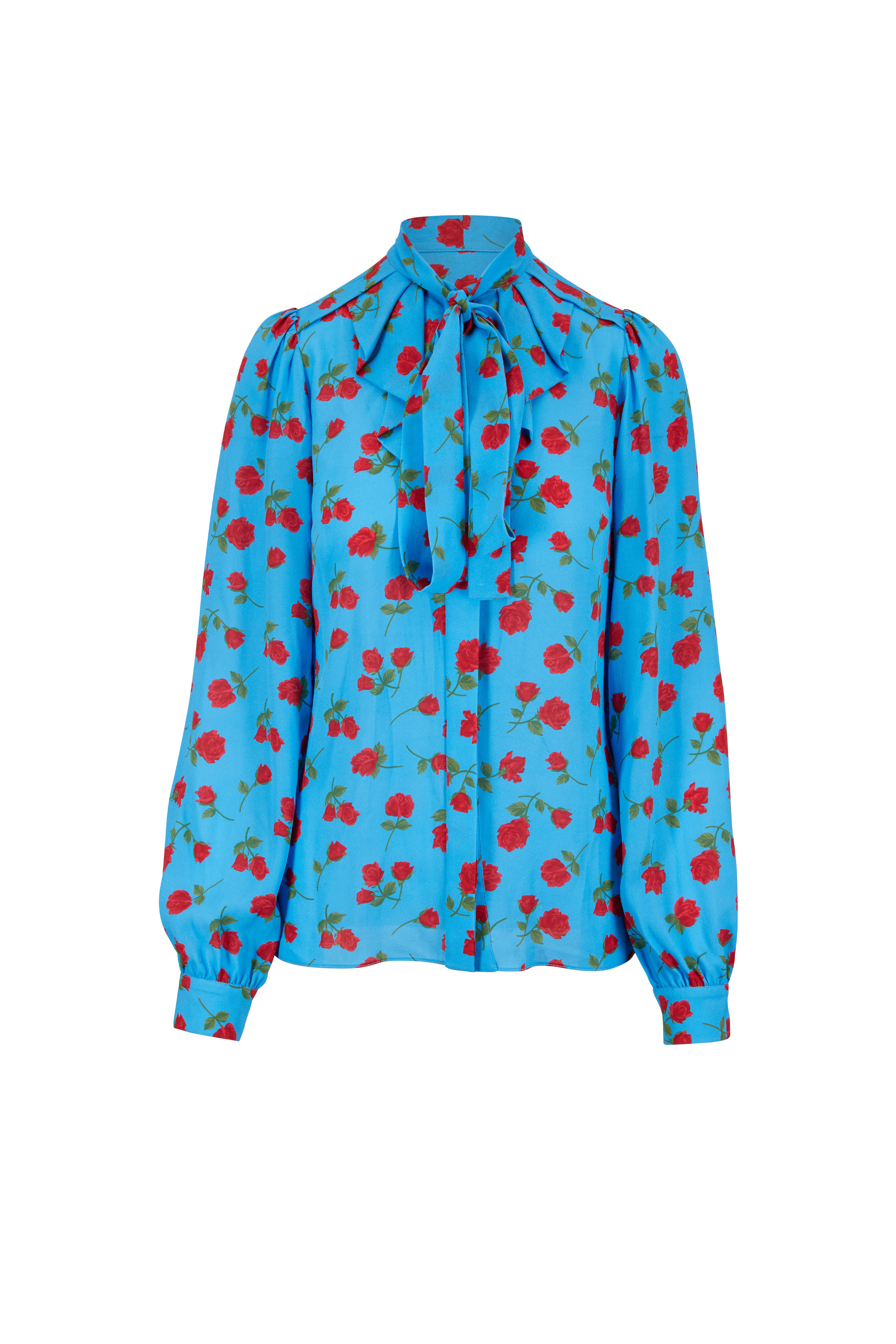 Michael Kors Collection - Blue   Red Roses Tie-Neck Silk Blouse ... 864088ff2fdff