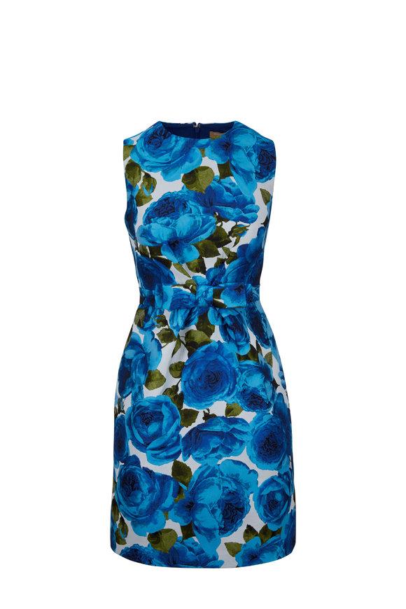 Michael Kors Collection Royal Rose Jacquard Bow Detail Sleeveless Dress