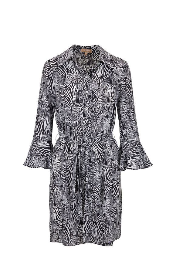 Michael Kors Collection Black & White Zebra Crepe de Chine Belted Dress