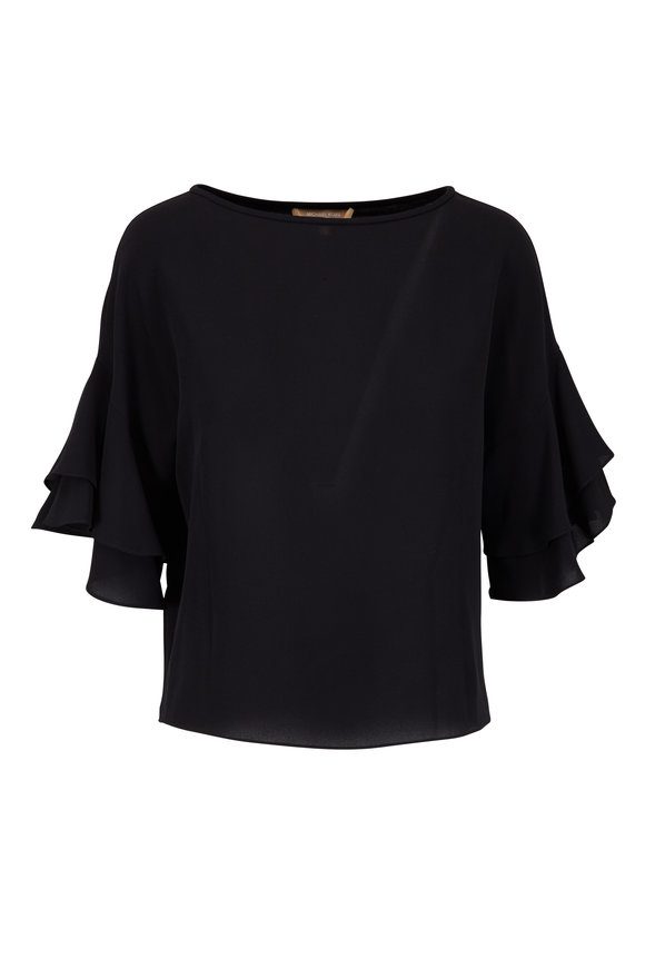 Michael Kors Collection Black Double-Flutter Sleeve Popover Blouse