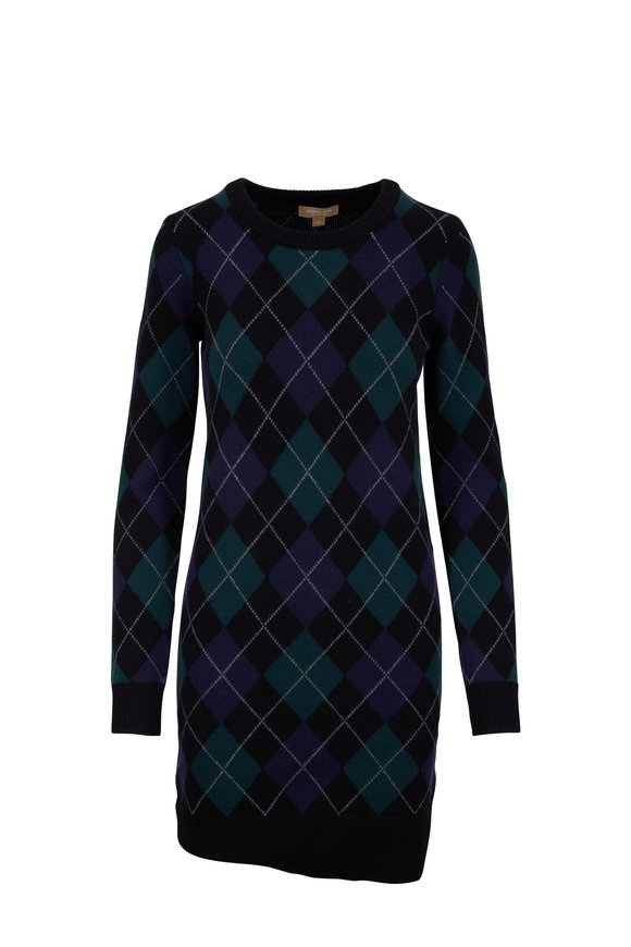 Michael Kors Collection Black Multicolor Cashmere Argyle Crewneck Dress