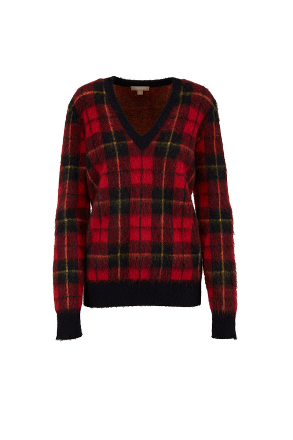 Michael Kors Collection Crimson Tartan Mohair Elbow Patch V-Neck Sweater