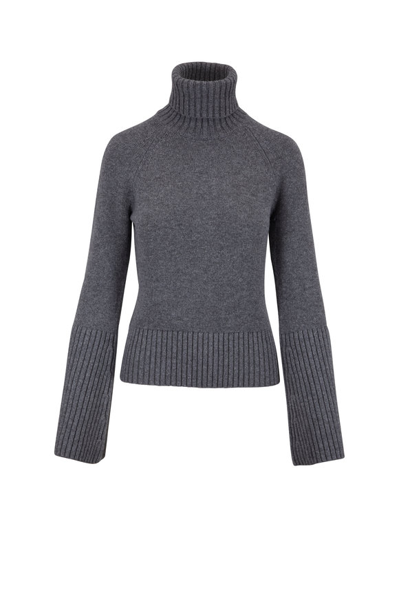 Michael Kors Collection Banker Gray Cashmere Turtleneck Sweater