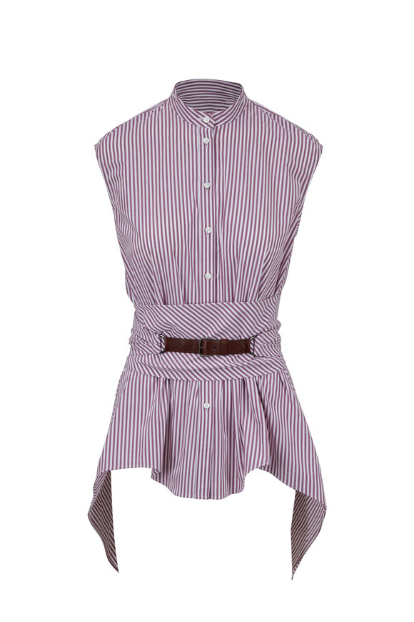 Brunello Cucinelli Plum Striped Sleeveless Tunic With Wrap Belt