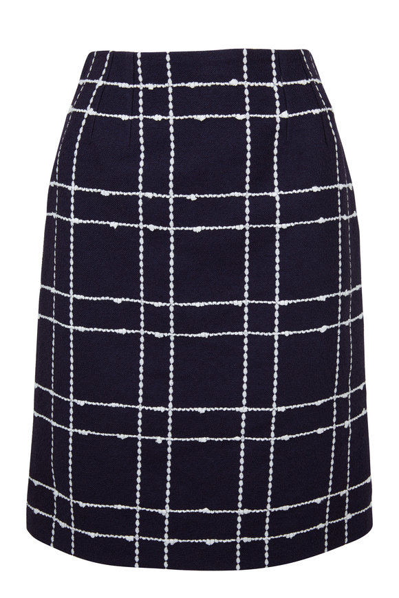 Oscar de la Renta Navy & White Windowpane Skirt