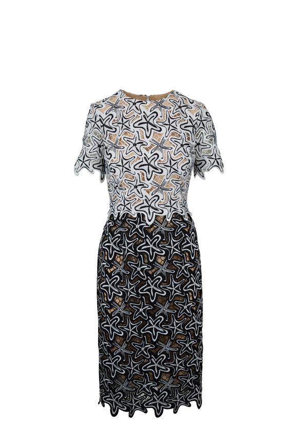 Oscar de la Renta Black & White Lace Starfish Sheath Dress