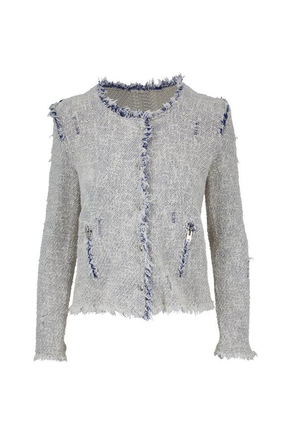 IRO Agnette White & Blue Fringe Jacket