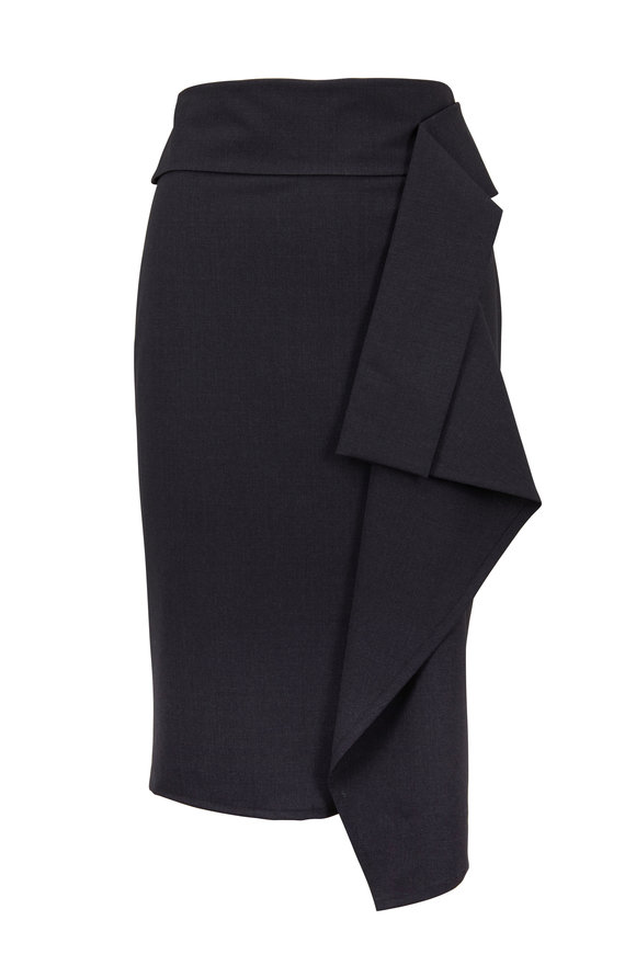 Brunello Cucinelli Anthracite Lightweight Wool Ruffle Skirt