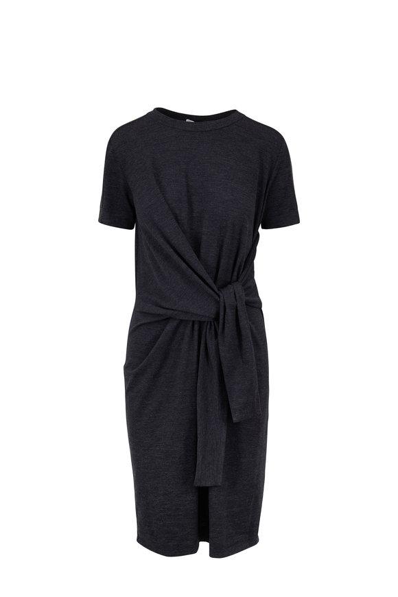 Brunello Cucinelli Anthracite Stretch Wool Self-Tie Dress