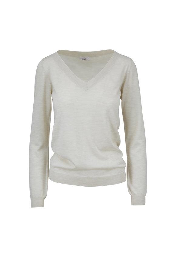 Brunello Cucinelli Oat Cashmere & Silk V-Neck Sweater