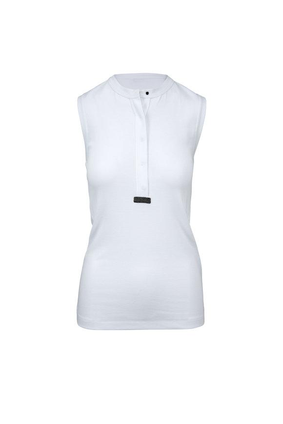 Brunello Cucinelli White Stretch Cotton Sleeveless Henley