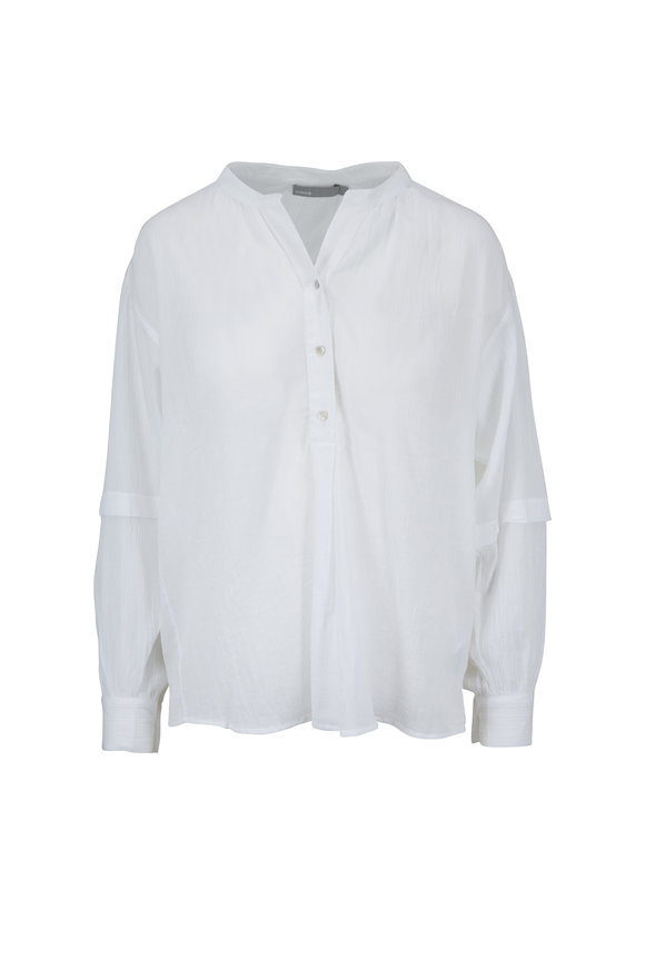 Vince White Cotton Crinkle Blouse