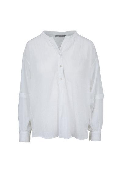 Vince - White Cotton Crinkle Blouse