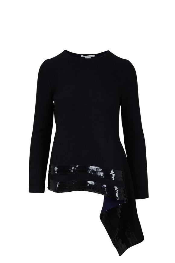 Oscar de la Renta Black Asymmetric Sequin Hem Knit Blouse