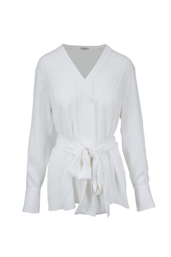 Brunello Cucinelli White Silk V-Neck Blouse