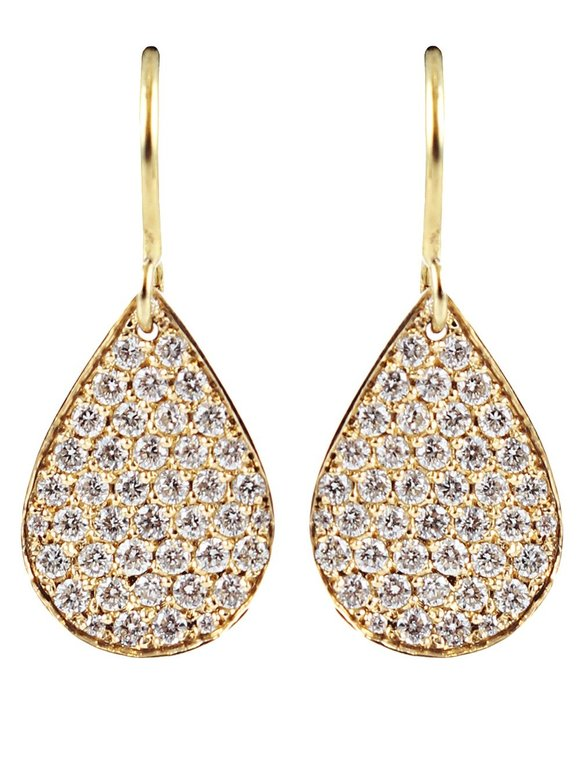 Irene Neuwirth 18K Yellow Gold Diamond Pear Shape Earrings